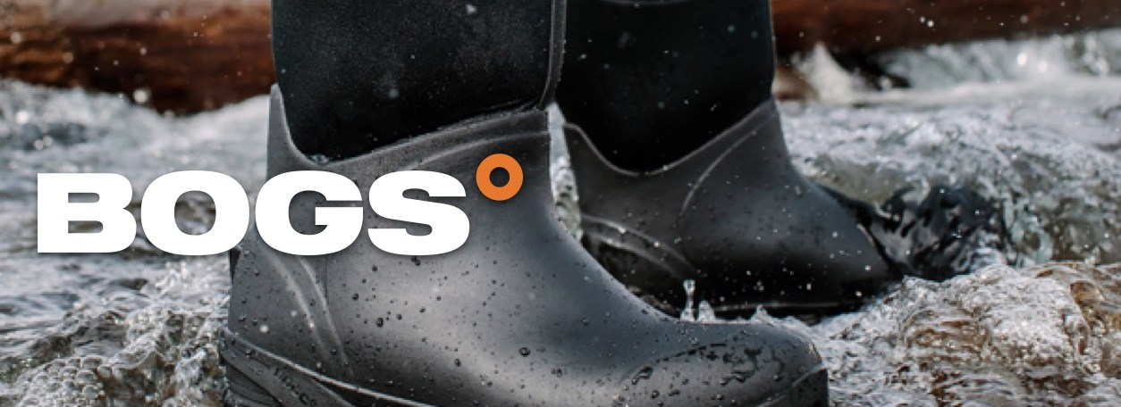 Bogs logo with person standing with Bogs boots in rushing river