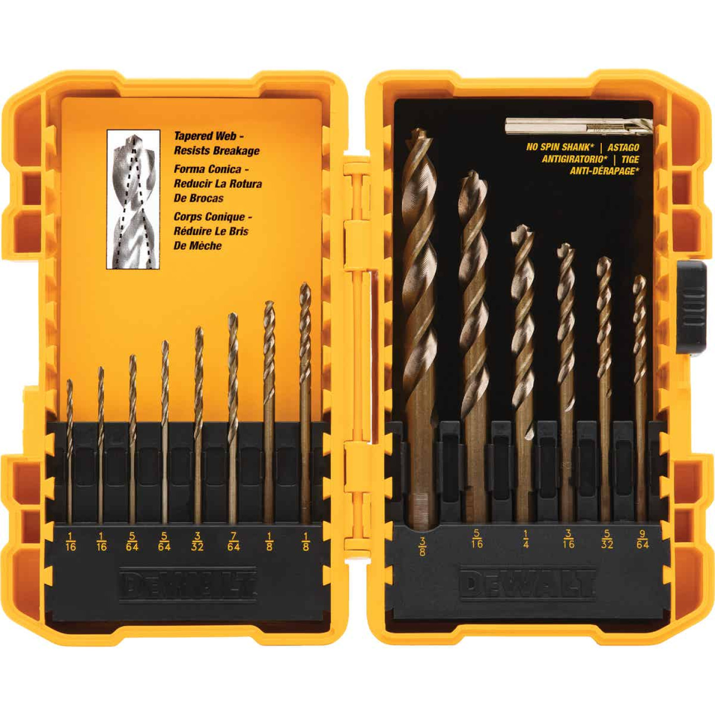 DeWalt 14-Piece Gold Ferrous Oxide Pilot Point General Purpose Drill Bit Set, 1/16 In. thru 3/8 In. Image 1